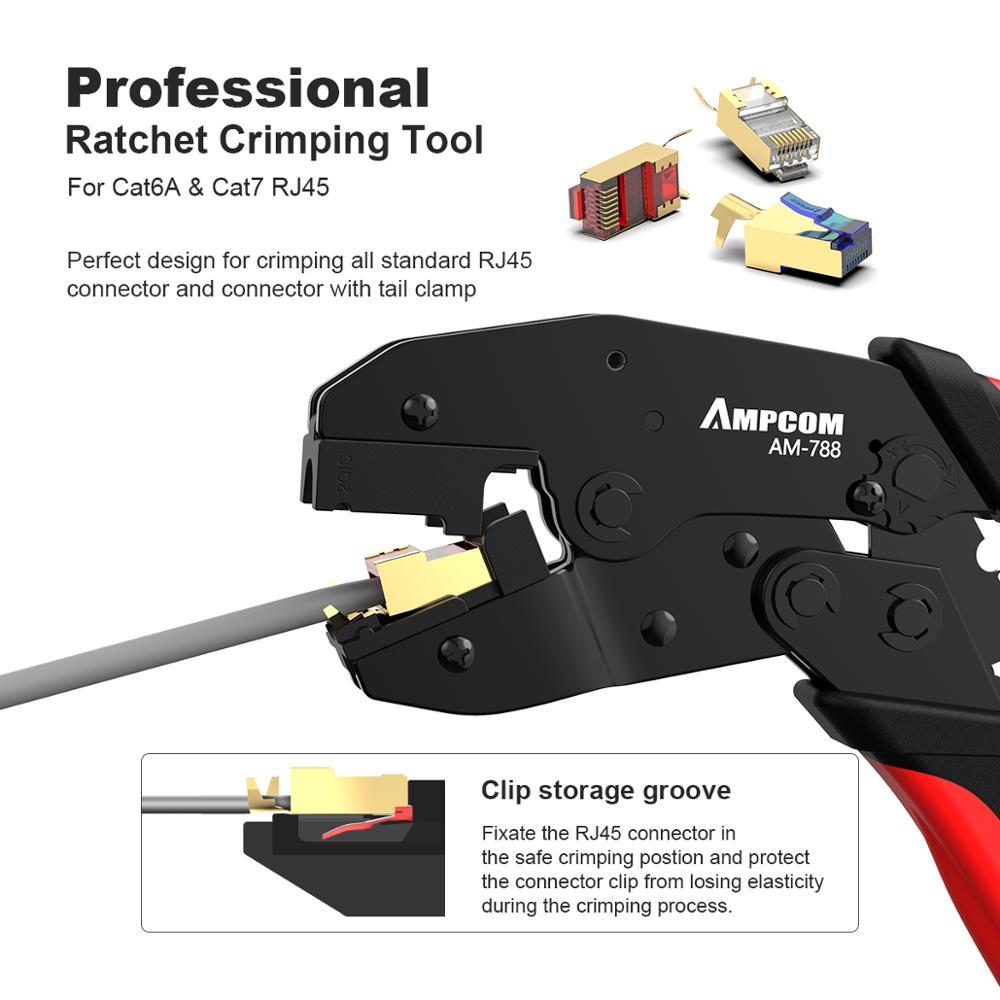 Image 2 - CAT7 щипцы инструмент обжимные плоскогубцы AMPCOM сети профессиональные щипцы для CAT7 CAT6A STP Модульные вилки с RJ45 8P8C разъем-in Сетевые инструменты from Компьютер и офис