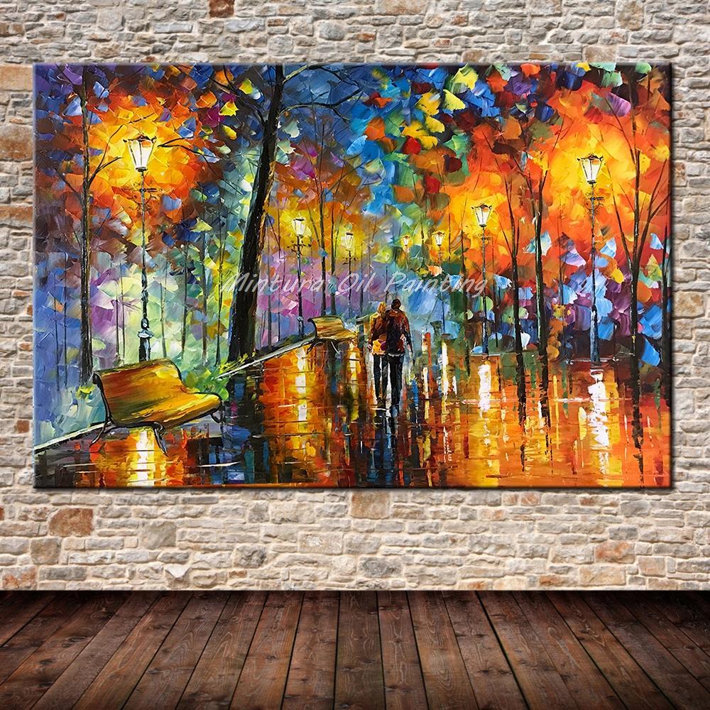 Большой расписанный вручную любовник дождь уличное дерево лампа пейзаж картина маслом на холсте настенные художественные настенные картины для гостиной домашний декор - Цвет: HY142197