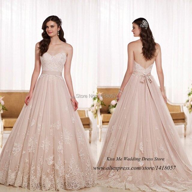 Us 205 0 Vestido De Noiva Vintage Rosa Spitze Brautkleid 2015 Prinzessin Braut Bander Schatz Low Back Romantische Frauen In Vestido De Noiva