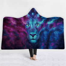 Thick Luxury Family Wolf Lion Hooded Hoodie Winter Blanket