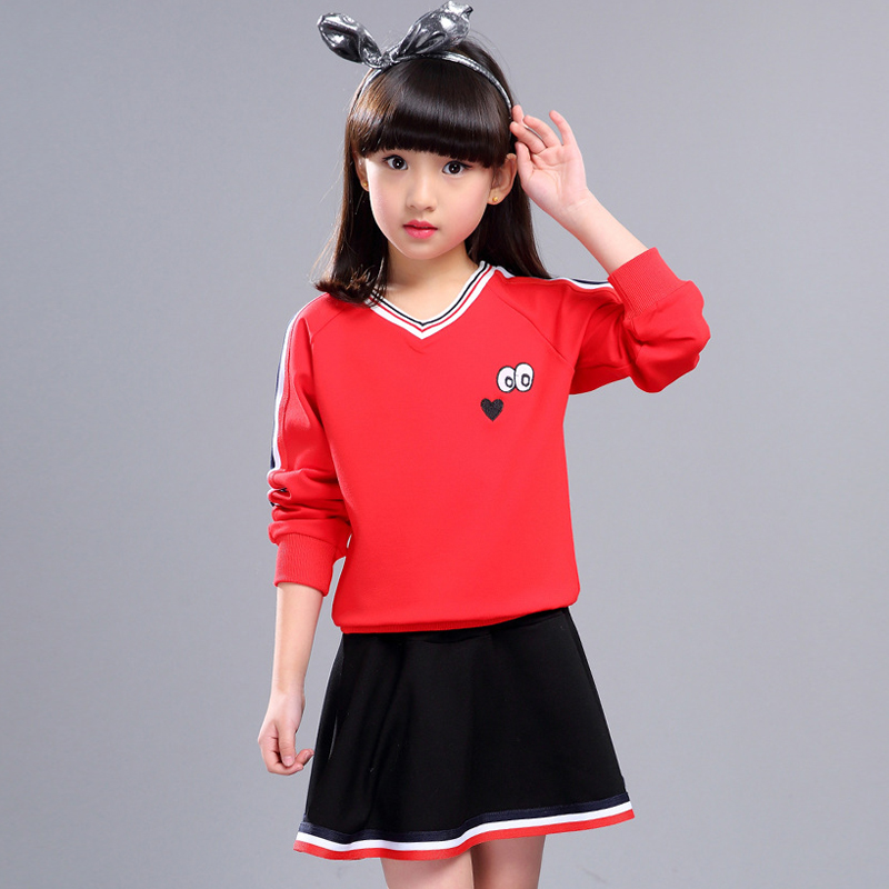 Girls Clothing Sets New Autumn Long Sleeve Casual Sports Shirt +Skirts 2Pcs Kids Patchwork Pullover Sets Children Suits XL214 autumn winter girls children sets clothing long sleeve o neck pullover cartoon dog sweater short pant suit sets for cute girls