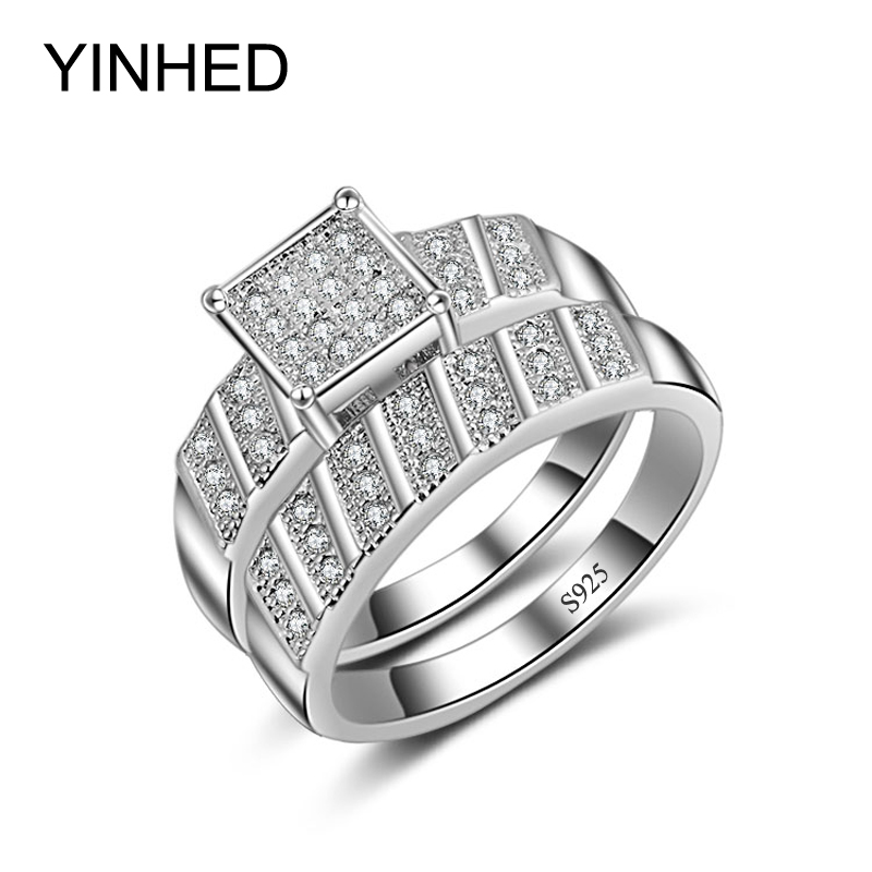 90 sale yinhed princess cz diamant engagement ring set 925 sterling silver jewelry rings for - Wedding Rings On Sale