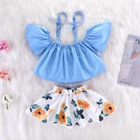 Bébé fille vêtements bébé fille été bébé costume fête avec floral groupe 2 ensembles de coton décontracté 24 M-5 T vêtements pour enfants ensemble