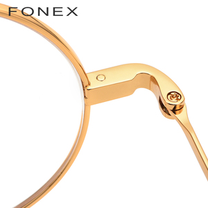 Image 3 - FONEX tytanowa ramka do okularów mężczyźni Ultralight okrągłe krótkowzroczność okulary korekcyjne optyczne ramki kobiety w stylu Vintage okulary 9120