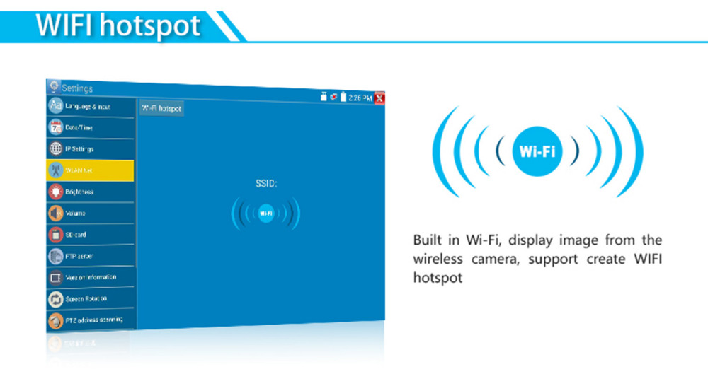CCTV Camera Tester Monitor with Built in Wifi Hotspot