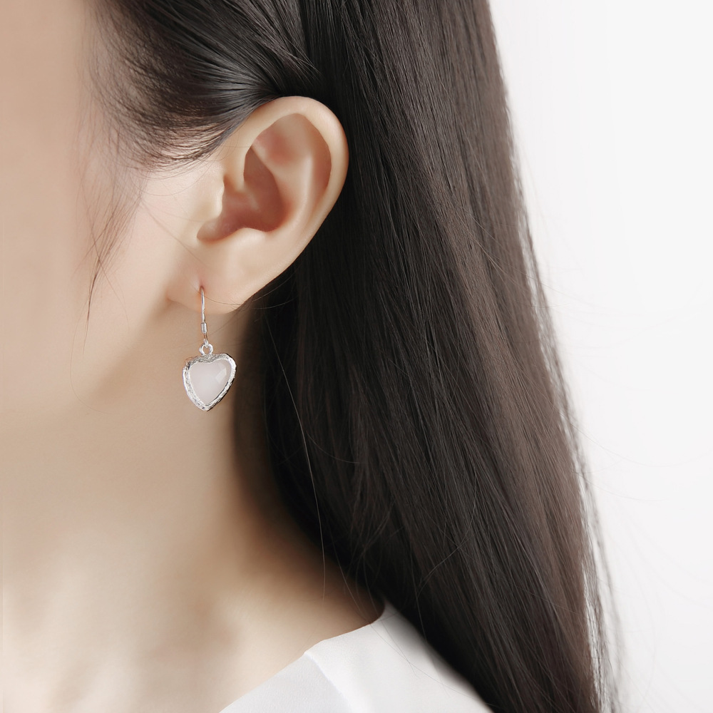 Earrings Jewelry Red Heart Net Customization Female Creative Wholesale Personality