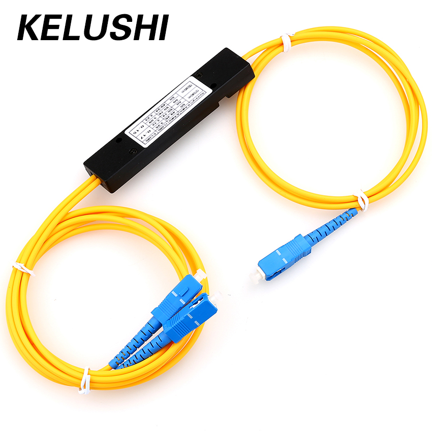 Free Shipping LC/UPC 1x2 PLC Singlemode Splitter Fiber Optic SC Interface Fiber Branching Device KELUSHI