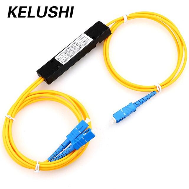 จัดส่งฟรีLC/UPC 1X2 PLC Singlemode Splitterไฟเบอร์ออปติกSCอินเทอร์เฟซเส้นใยBranchingอุปกรณ์KELUSHI