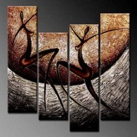 Free Shipping 4 Pieces Abstract Nude Dancing Figure Oil Painting Canvas High Quality Handpainted Wall Art