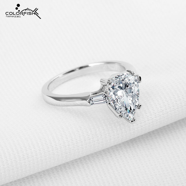 Us 45 68 Colorfish Sleek Three Stone Engagement Ring Design Pearl Cut 2 Ct Sona 925 Sterling Silver Wedding Ring For Women Jewelry 2018 In Rings