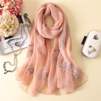 2018 Designer Brand Women Scarf Spring Summer High Quality Embroidery Silk Scarves Lady Shawls And Wraps