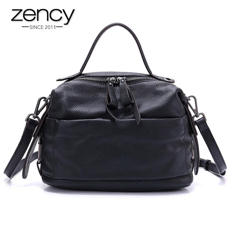 Zency New Model Fashion Women Handbag 100 Genuine Leather Elegant Black Tote Purse Female Crossbody Messenger