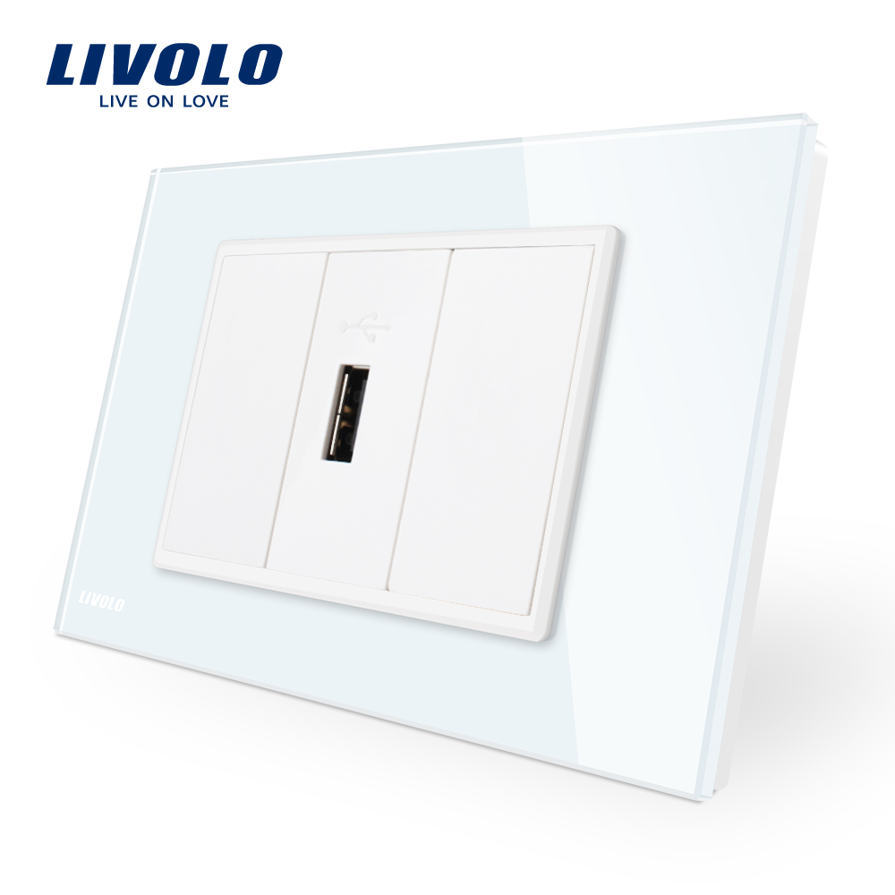 Livolo 1 Gang USB Charger (5V 2.1A),White Crystal Glass Pane 1 port USB ,Wall Power Socket USB, VL-C91USB-11