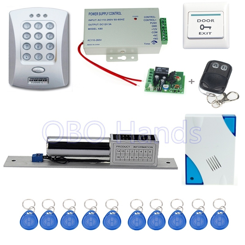 Free shipping door access control V2000-C+model+electronic bolt lock +power supply+key fobs+door bell+exit button+remote control free shipping rfid access control system 8618a electronic bolt lock power supply key fobs door bell exit button remote control