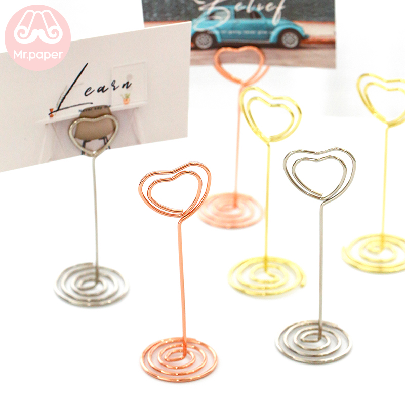 Mr Paper Kawaii Gold Sliver Rose Gold Metal Memo Clip Creative Stationery Lomo Card Memo Pad Photo Holder Standing Metal Clip