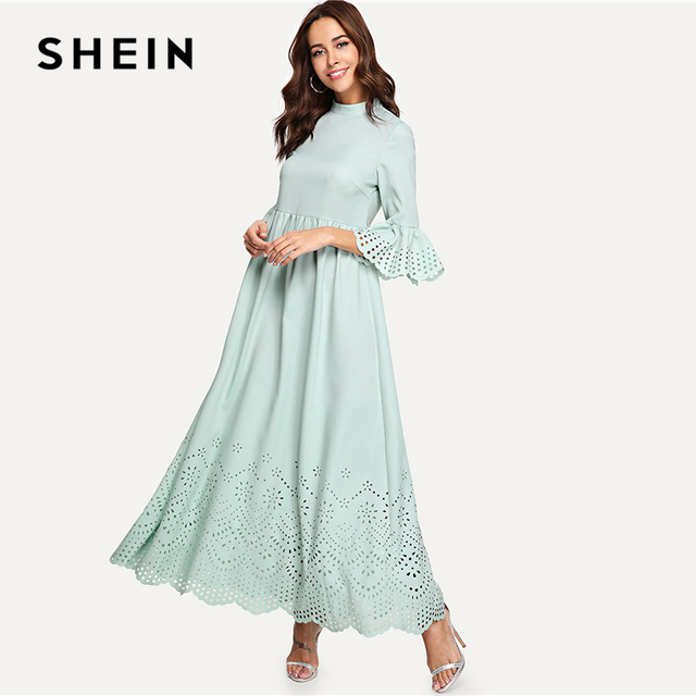 8bdc6a9ec1a37 SHEIN Green Elegant Minimalist Modern Lady Streetwear Scalloped Laser Cut  Self Belted Knot Dress Summer Women Casual Dresses