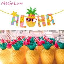 Ананас Aloha баннер напиток чашки Гавайи Луау овсянка гирлянда пляжные вечерние украшения тропические летние бассейн вечерние принадлежности