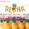 Piña Aloha Banner tazas de bebida Hawai Luau Bunting Garland decoración para fiestas de playa verano Tropical artículos para fiesta en la piscina