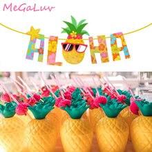 Abacaxi aloha bandeira de abacaxi, copos da bebida do havaí luau guirlanda praia festa decoração tropical verão fornecimento de festa