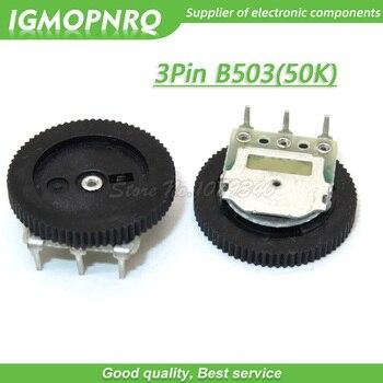 5 uds 3Pin 16*2mm doble engranaje de ajuste potenciómetro de esfera B503 50K potenciómetro de esfera IGMOPNRQ