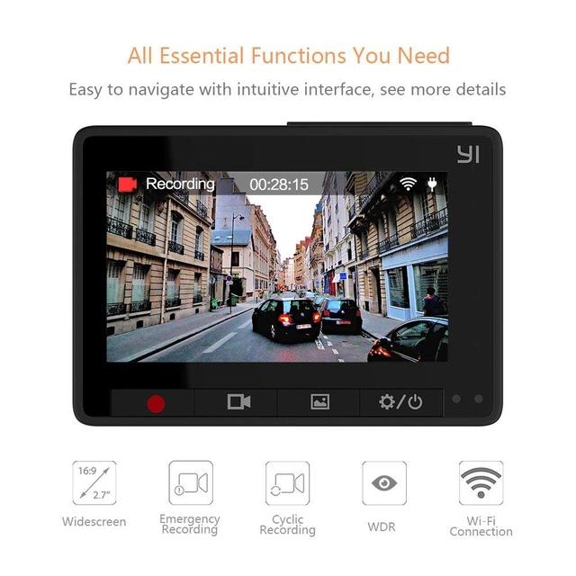 YI Compact Dash Camera 1080p Full HD Car Dashboard Camera with 2.7 inch LCD Screen 130 WDR Lens G-Sensor Night Vision Black