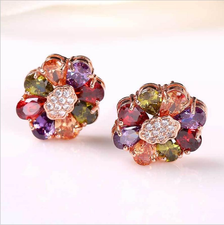 Flower Multicolor Garnet Morganite Crystal Zircon Rose Color Ear Jewelry Stud Earring M01-ER0110