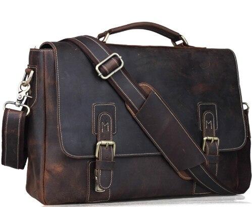 Crazy Horse Genuine Leather Briefcases 14 Laptop Bag Shoulder Bag Fashion Vintage Handbag Dark Brown Messenger