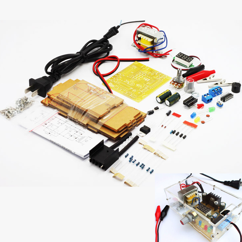 Updated version DIY LM317 Adjustable Voltage Power Supply Board Learning Kit with case learn kit free shipping