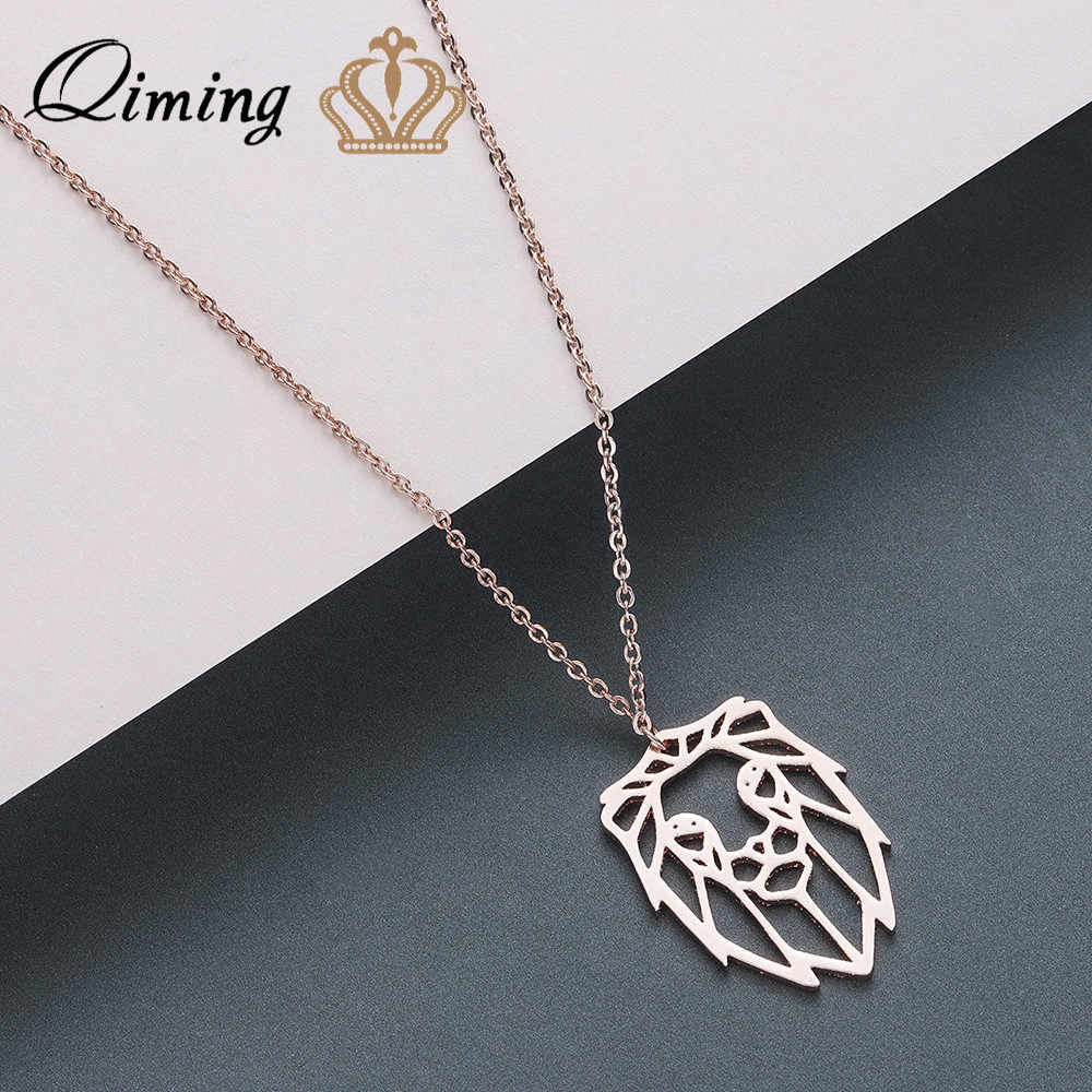 QIMING Origami Lion Animal Necklace Stainless Steel Women Men Jewelry Accessories Zodiac Pendant Punk Necklaces Female