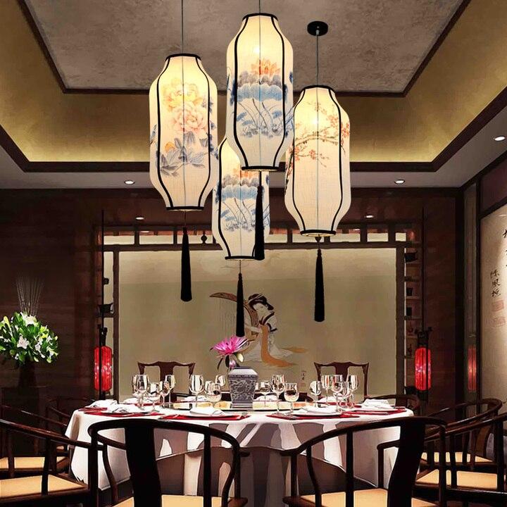 Restaurant chinois lampes suspendues couloir Club teahouse lampes suspendues chinois nouveau lin tissu peint à la main lanterne ZA ZS159