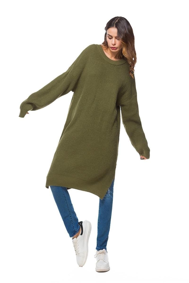 Fall Winter Vintage Mustard Side Slit Crochet Sweater Dress for Women Cute Ladies Retro Cosy Loose Split Pullover One Size 8