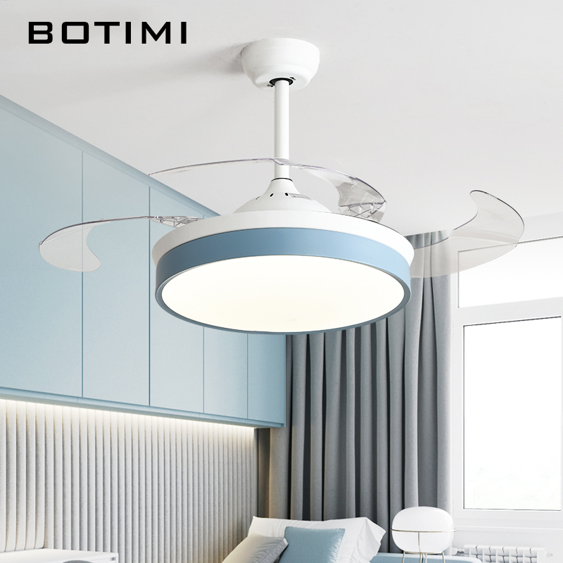 Botimi Modern Ceiling Fans With Lights For Living Room 42 Inch Remote Control Ceiling Fan Lamp 36Inch Bedroom LED Ventilator(China)