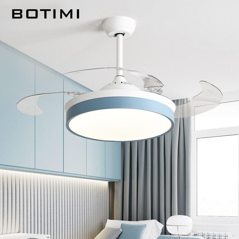 BOTIMI ventilateur de plafond moderne pliable, avec éclairage pour salon, ventilateur de plafond à télécommande de 42 pouces, ventilateur de chambre à coucher