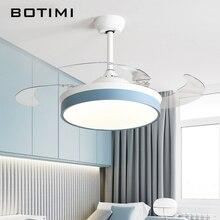 Современный складной потолочный вентилятор BOTIMI с подсветкой для гостиной, 42 дюймовый потолочный вентилятор с дистанционным управлением, светодиодный вентилятор для спальни