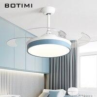 Botimi современные потолочные вентиляторы с подсветкой для гостиной 42 дюймов пульт дистанционного управления потолочный вентилятор лампа 36 д