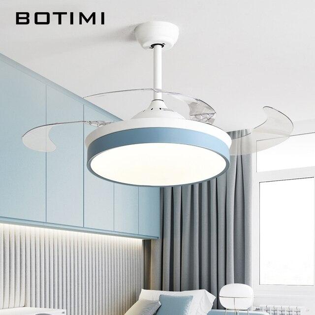 Botimi מודרני תקרת אוהדי עם אורות לסלון 42 אינץ שלט רחוק תקרת מאוורר מנורת 36 אינץ שינה LED הנשמה