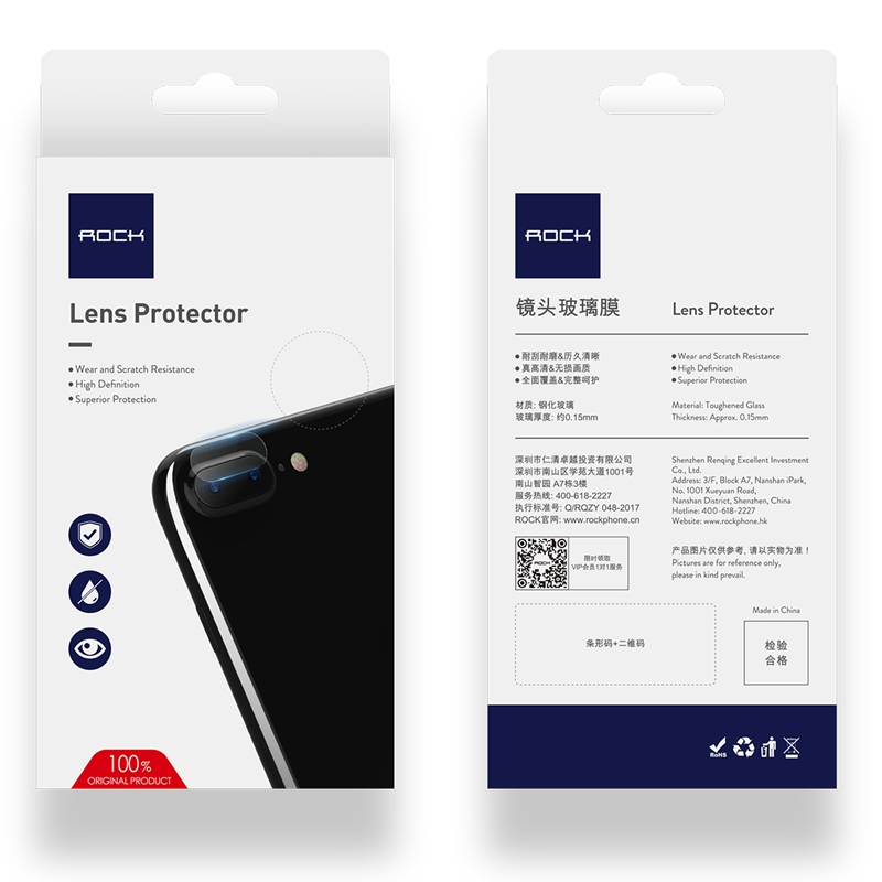 competitive price 26e3e d994e US $2.99 30% OFF|2pcs 0.15MM Camera Len Film Tempered Glass for iPhone 8 7  plus Camera, ROCK Lens Glass Protector for iPhone 7 8 Camera 2 Packs-in ...