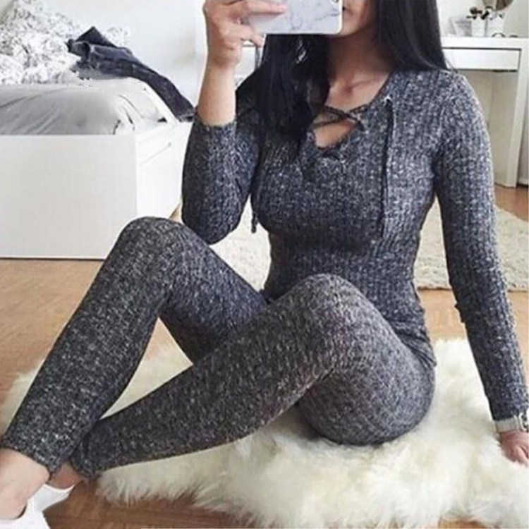 Women Cross Bandage V-Neck Knitted   Jumpsuit   Lace Up Autumn Winter Grey Sweaters Romper Warm Slim Sexy Bodycon Playsuits