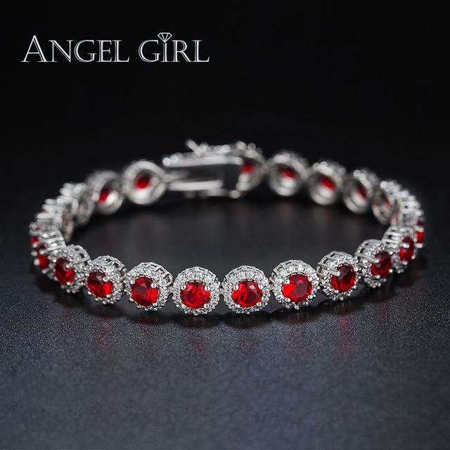 Angel Girl high quality White Gold Color circular-shape Bracelets & Bangles for woman Ladies jewelry Red Cubic Zircon christmas