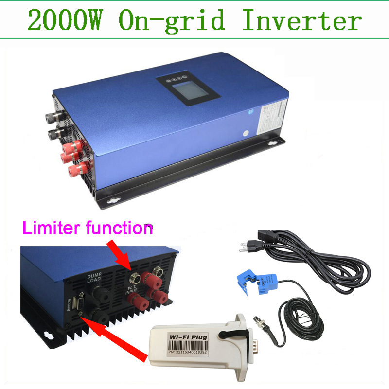 On grid wind inverter Pure Sine wave 2000W bult in limiter and wifi tracking grid tie inverter 2kw 230v with LED display
