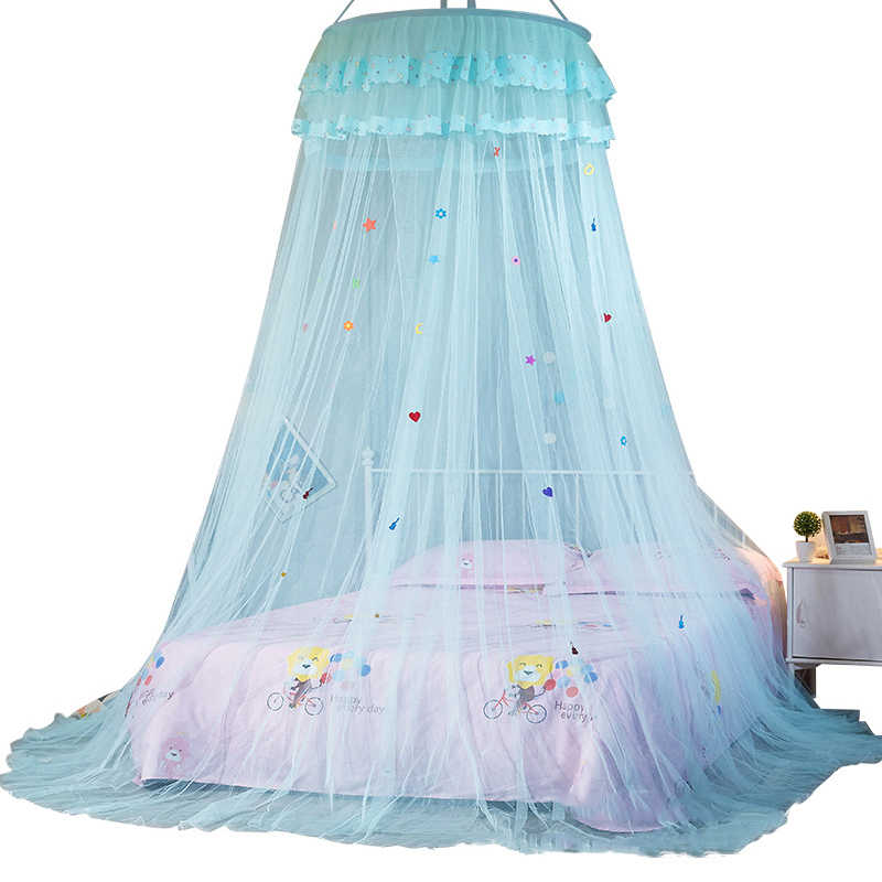 Blue Double Bed Mosquito Repellent Tent Elegant Canopy Mosquito Net Insect Reject Canopy Bed Curtain Bed Tent Hanging Kids Baby