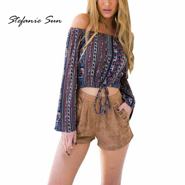 f22b0c5040723 Sexy Print Shirt Tops Off Shoulder Long Sleeve Gypsy Boho Crop Tops Women  Summer Blouses