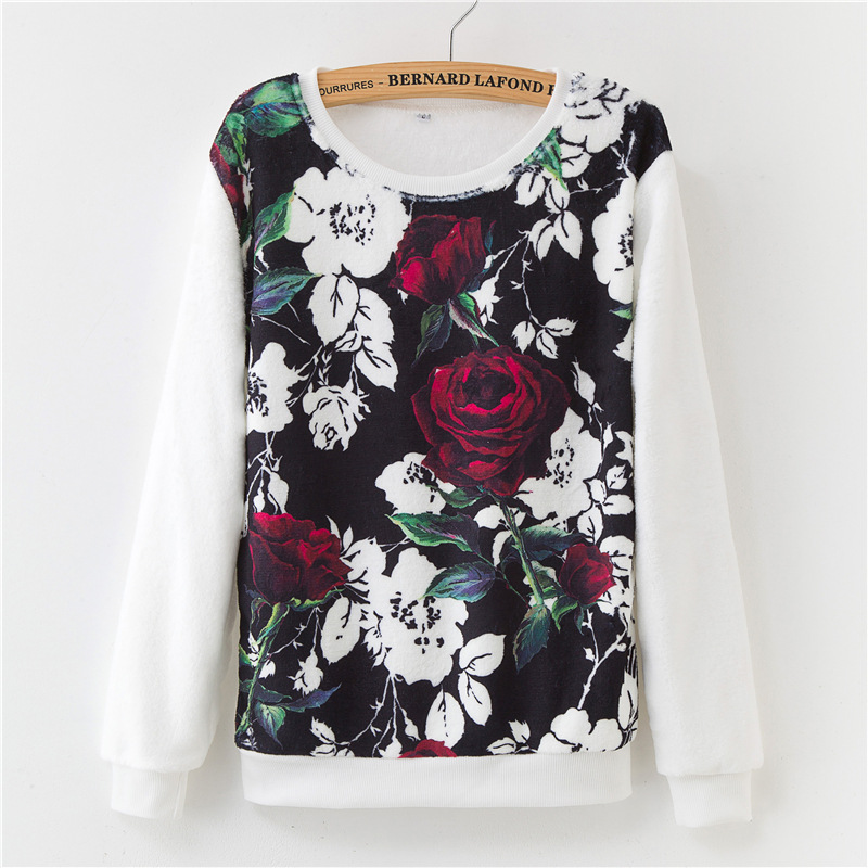 19 winter base warmth Harajuku floral print flannel pullover loose women's sweater ladies 8