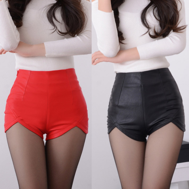 2019 New Fashion Summer Women's Sexy Black Red PU High Waist Shorts Vintage Slim Slit High quality size S-2XL Leather Shorts 4