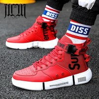 MUMUELI Black White Red New Designer Casual Breathable Shoes Men High Top 2019 Quality Fashion Luxury Flat Brand Sneakers WD883