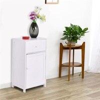 White Storage Cabinet Bathroom Organizer MDF Drawer Storage HW59095