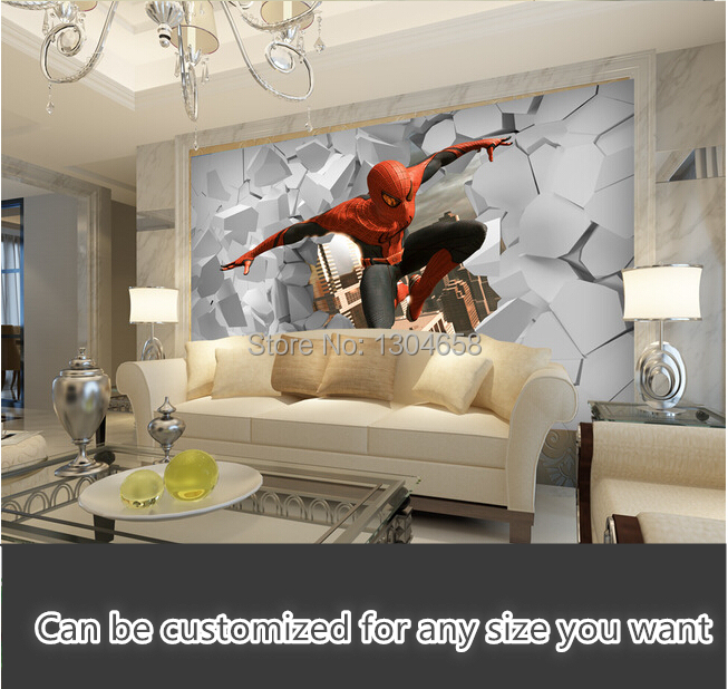 Free shipping custom modern mural 3D spider man out of the hole television sofa setting wall wallpaper, silk fabric superior spider man volume 3