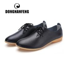 DONGNANFENGผู้หญิงสุภาพสตรีหญิงแม่รองเท้าหนังรองเท้าLoafersวัวแท้หนังหมูหนังLace Upรองเท้าแตะ35 41 XXH 929
