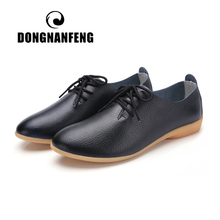 DONGNANFENG Women Ladies Female Mother Leather Shoes Flats Loafers Cow Genuine Pigskin Lace Up Moccasins 35-41 XXH-929
