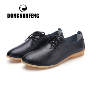 DONGNANFENG Women Ladies Female Mother Leather Shoes Flats Loafers Cow Genuine Leather Pigskin Lace Up Moccasins 35-41 XXH-929